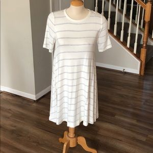 Off white with gray striped swing dress Lou & Grey